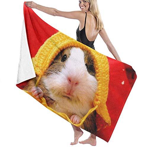 MKFBEACH Cute Guinea Pig Knit Cap Personalized Microfiber Beach Towel Pool Quick Dry Bath Towels 32