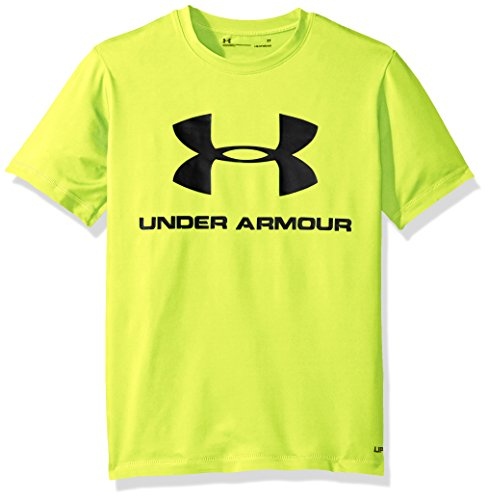 Under Armour Big Logo Surf Shirt Little Boys' Short Sleeve Rashguard, Hi Gh/Vis Yellow, 5 rash guard under armour 5