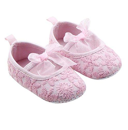 Auxma Zapatos de bebé para 0-18 meses,Toddler Niña Suela suave Cuna Zapatos Zapatillas de deporte rosa