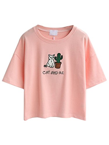 (Persun Pink Embroidery Letter And Cat Short Sleeves Crop T-shirt Top,One Size,Pink)