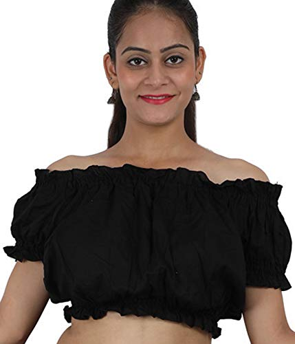 (Wevez Women's Tribal Cotton Puff Top, One Size, Black)