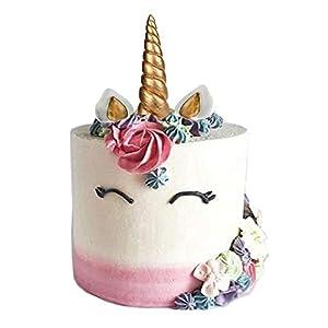 GmakCeder Unicorn Cake Topper,Reusable Unicorn Horn, Ears and Eyelashes Party Cake Decoration Value Set for Baby Shower, Birthday Party (6inch/new eyelashes)