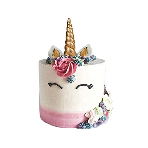 GmakCeder Unicorn Cake Topper,Reusable Unicorn Horn, Ears and Eyelashes Party Cake Decoration Value Set for Baby Shower, Birthday Party (6inch) (8 inch) 3