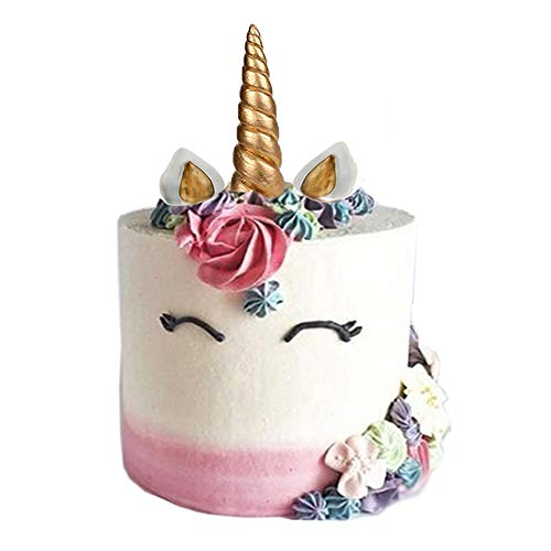 GmakCeder Unicorn Cake Topper, Reusable Unicorn Horn, Ears and Eyelashes Party Cake Decoration Value Set for Baby Shower,Wedding and Birthday Party