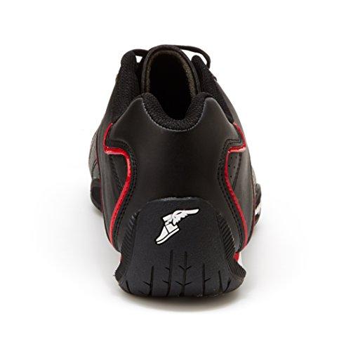 Goodyear Mens Ori Racer Sneaker - Baskets Basses, Cuir Pu Et Doublure En Mesh Noir / Rouge
