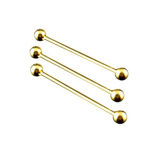 Voberry 1PC Mens Necktie Tie Clip Bar Clip Cravat Pin Round Collar Brooch (Gold)