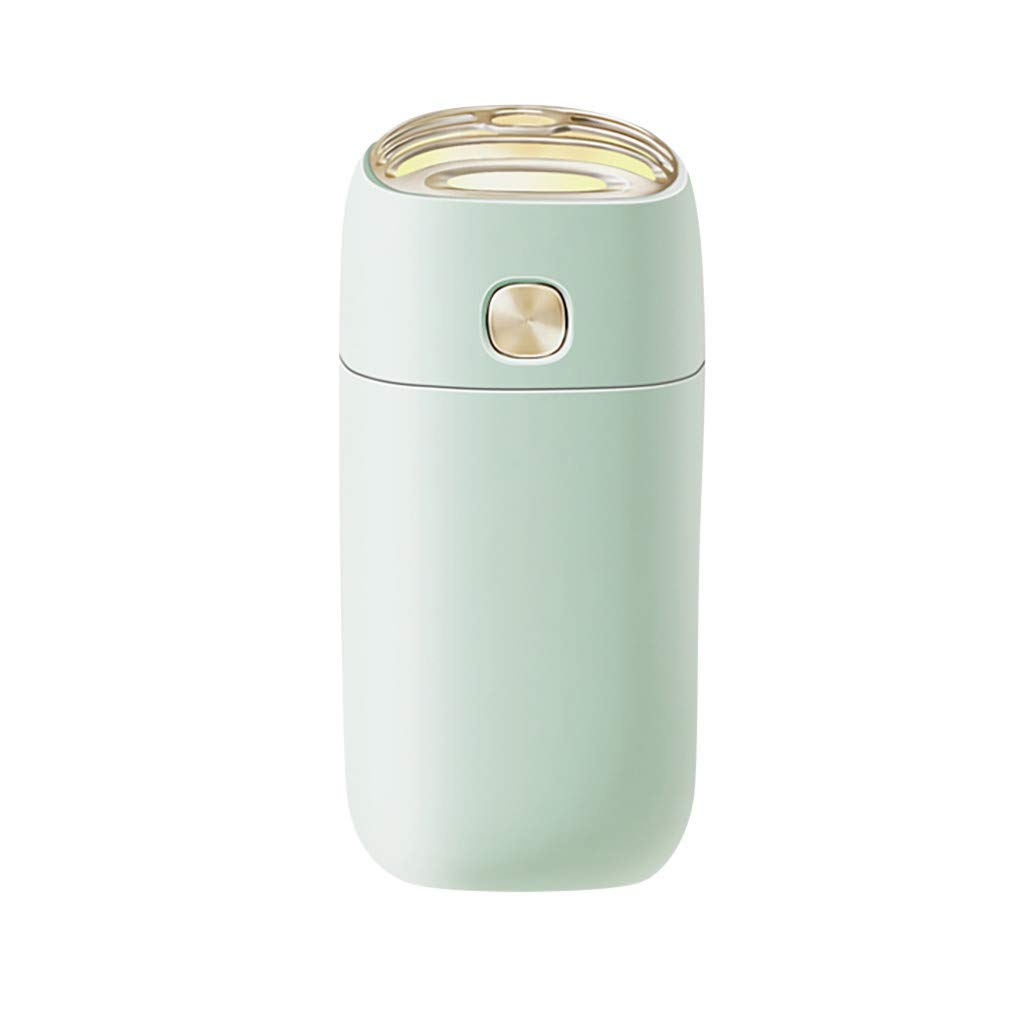 Humidifier Ultrasonic Cool Mist Large Room,Mini Air Humidifier USB Purifier Home Office Car Steam LED Air Aromatherap,Essential Oil Diffuser White Glass,Green,Free Size