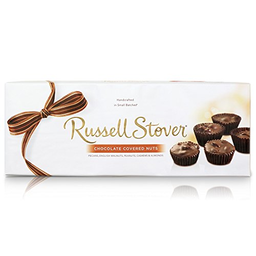 - Russell Stover Chocolate Covered Nuts 10 Ounce Boxes (Pack of 3) Assorted Chocolate Covered Nuts; An Assortment of Nuts; Milk Chocolate Covered Candies and Dark Chocolate Covered Candies