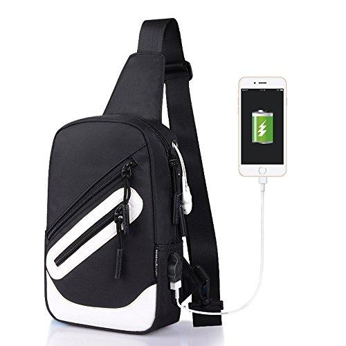 Oxford da Zipper borsa bianca tracolla unisex a tracolla Borse Colors sunnsean a per Fashion Borsa Casual sportiva Print viaggio Tessuto 50OHnqzwH
