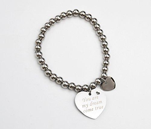 BC1876E - Bracelet Elastique Boules avec Charm Coeur Message You are my dream come true Acier Argenté - Mode Fantaisie