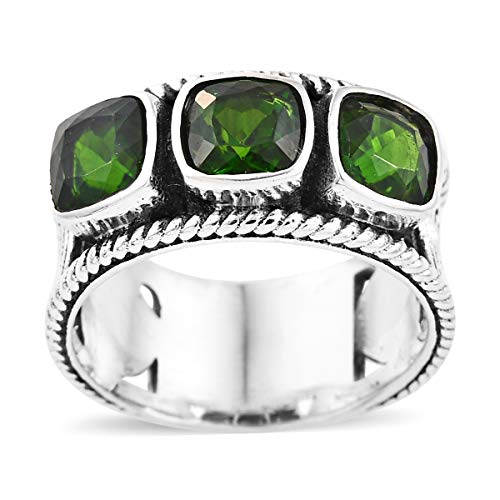 Trilogy Band Ring 925 Sterling Silver Cushion Chrome Diopside Boho Handmade Jewelry for Women Size 5 Cttw 1.7