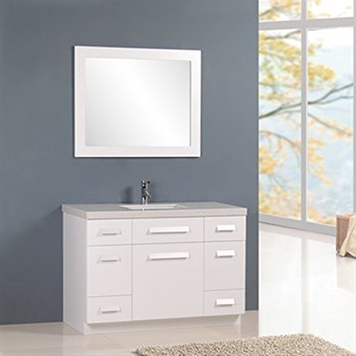 Moscony White Vanity Set w/Single Sink 48'' by Design Element by Design Element