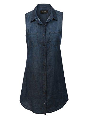 Dress Chambray Denim - LE3NO Womens Plus Size Classic Sleeveless Chambray Denim Shirt Dress