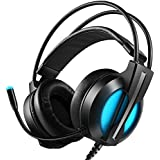 Yocktec Gaming Headset for PS4 Xbox One, USB Wired Surround Stereo Noise Cancelling Over Ear Headphones with Mic, LED Light, True Vibration Gaming Effect for Playstation 4/ Xbox One/PC