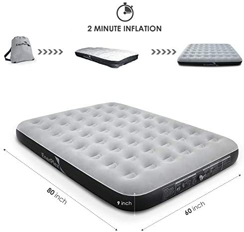 EnerPlex Never-Leak Camping Series Queen Camping Airbed with High Speed Pump Never Queen Size Air Mattress Single High Inflatable Blow Up Bed for Home Camping Travel 2-Year Warranty Grey Black