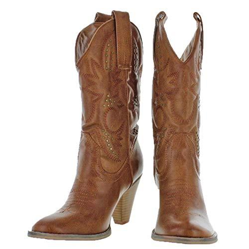 Volatile Nightbloom Women Studded Fashion Western Boots Tan Size 6.5