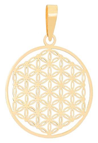 ERCE pendentif fleur de vie, or jaune 585/1000 - 14 carat, longueur 2,8 cm, en écrin cadeau