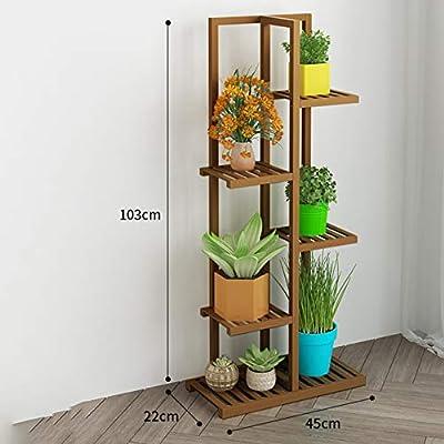 D&LE 5 Niveles Bambú Soporte de la Flor estantería Multi Madera Estantes Bonsai Puesto de Flores para El balcón Sala de Estar Patio Jardín Interior al Aire Libre-marrón 18x9x41(45x22x103cm): Amazon.es: Hogar