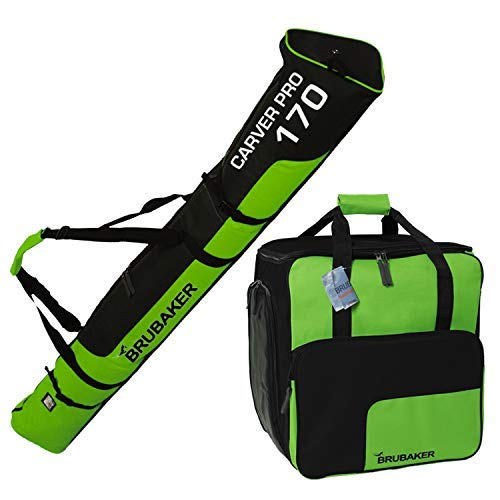BRUBAKER Combo Ski Boot Bag and Ski Bag for 1 Pair of Ski, Poles, Boots, Helmet, Gear and Apparel - Available in 66 7/8