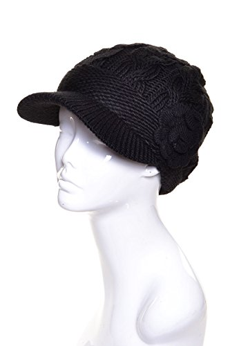 AN Womens Beanie Hat Beret Style Visor Cap Winter Wool Lined Black Knit Flower