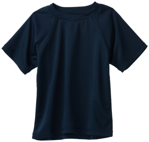 Kanu Surf Big Boys' Solid UV Rashguard Swim Tee, Navy, Medium (10)
