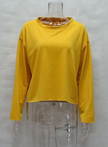 Fashion Blouses Shirts Court Femmes Casual Unie Longues Chemisiers Jumpers Printemps Automne Pulls et Hauts Tops T Couleur Col Sweat Rond Shirts Jaune Manches tY7EwX