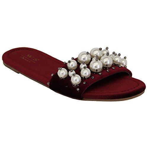 Vin Suédé Sur My652 Confortable Sandales Jeans Cuir Chausson Glissant Perle Sliders Plat Femmes UqXwSpPP
