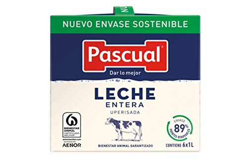 Leche Pascual Clásica Leche Entera – Pack de 6 x 1 l – Total: 6 l