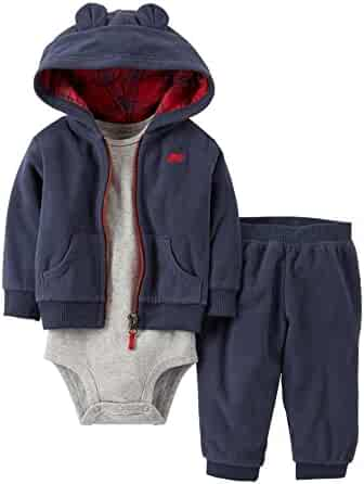 8a65a740c Carter's Infant Boys 3 Piece Bear Outfit Sweat Pants Creeper & Eared Hoodie