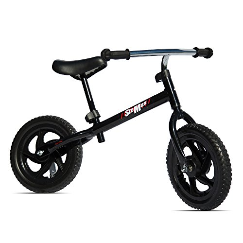 """12"""" Balance Bike, No Pedal Sport Bicycle with Carbon Steel Frame and Adjustable Handlebar and Seat, Perfect for Children, Toddler Ages 2 to 6 Years Old, 66lbs Capacity (Black)"""