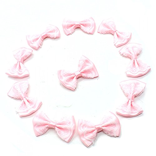 HUELE 100pcs Mini Ribbon Bow Tie Shaped Lace Flowers Wedding Ornament Appliques DIY Embellishment Craft Artificial Decoration Ribbon Applique Embellishment (Pink) by HUELE