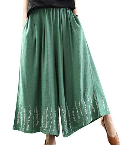 (YESNO Women Casual Cropped Linen Pants Wide Leg 'Wheat Ears' Embroidery Pockets PKE Green)