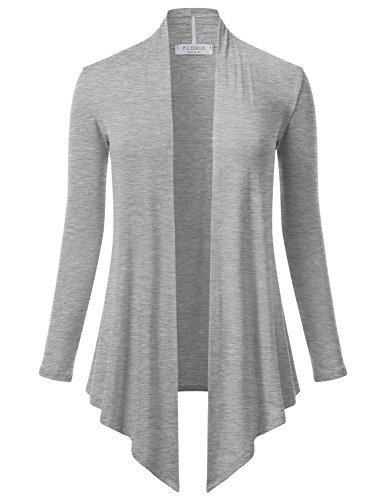 FLORIA Women's Open Front Drape Hem Lightweight Long Sleeve Knit Cardigan HEATHERGREY M