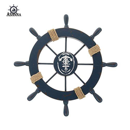 Ashnna Ship Steering Wheel, Handcrafted Wooden Ship Wheel, Mediterranean Nautical Wooden Boat Ship Wheel Helm, Home Wall Party Decoration (Dark Blue)