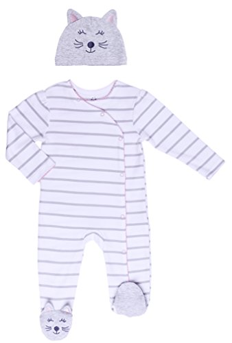 Asher & Olivia Footed Pajamas for Girls Top Baby Hat Side Snap Onesies Sleepers (Kitty Set, 9-12 Months)