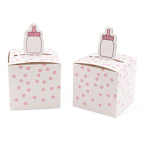 50pcs Baby Shower Baby Bottle Favor Boxes Pink Dots Candy Boxes for Baby Shower Supplies, Birthday Party ()