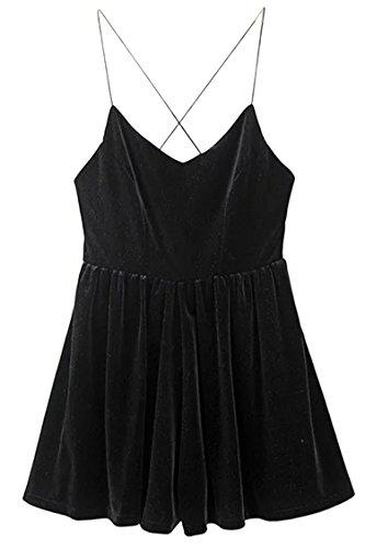 Rokiney Womens Ladies Velour Jumpsuit V Neck Party Playsuit Braces Skirt Black S