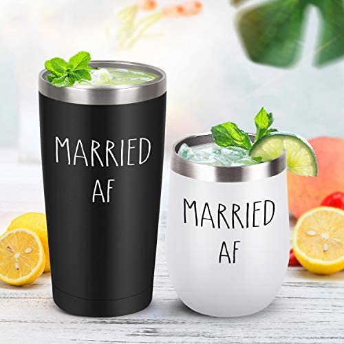Lifecapido Married AF Engagement Wedding Anniversary Bridal Shower Gifts for Couples Newlyweds Bride Husband Wife, 12 Oz Wine Tumbler and 20 Oz Stainless Steel Travel Tumbler Set, Black and White