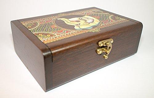 Handcrafted Thai Teak Wooden Jewelry Gift BOX Thai Elephant with Thick Thai Design & Keepsake Collector Box Teak Paint