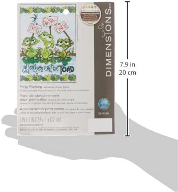 """5/"""" x 7/"""" DIMENSIONS Frog Parking Mini Counted Cross Stitch,Cross Stitch for Beginners"""