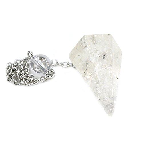 Natural White Quartz Gemstone 12 Facet Crystal Hexagonal Pointed Reiki Chakra Pendant Pendulum