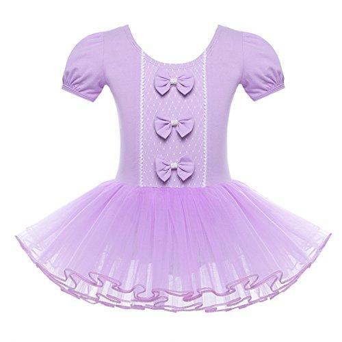 1778d7a6f267 YiZYiF Kids Girl s Short Sleeve Skirted Bow Leotard Outfits Dance ...