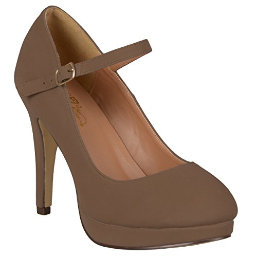 Journee Collection Womens Round Toe Platform Pumps Taupe Suede Mary Jane AKC3O