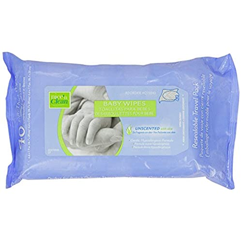Nice N Clean Baby Wipes with Aloe, Travel Paks, Unscented, Hypoallergenic, Case of 12/40s (480 ct)