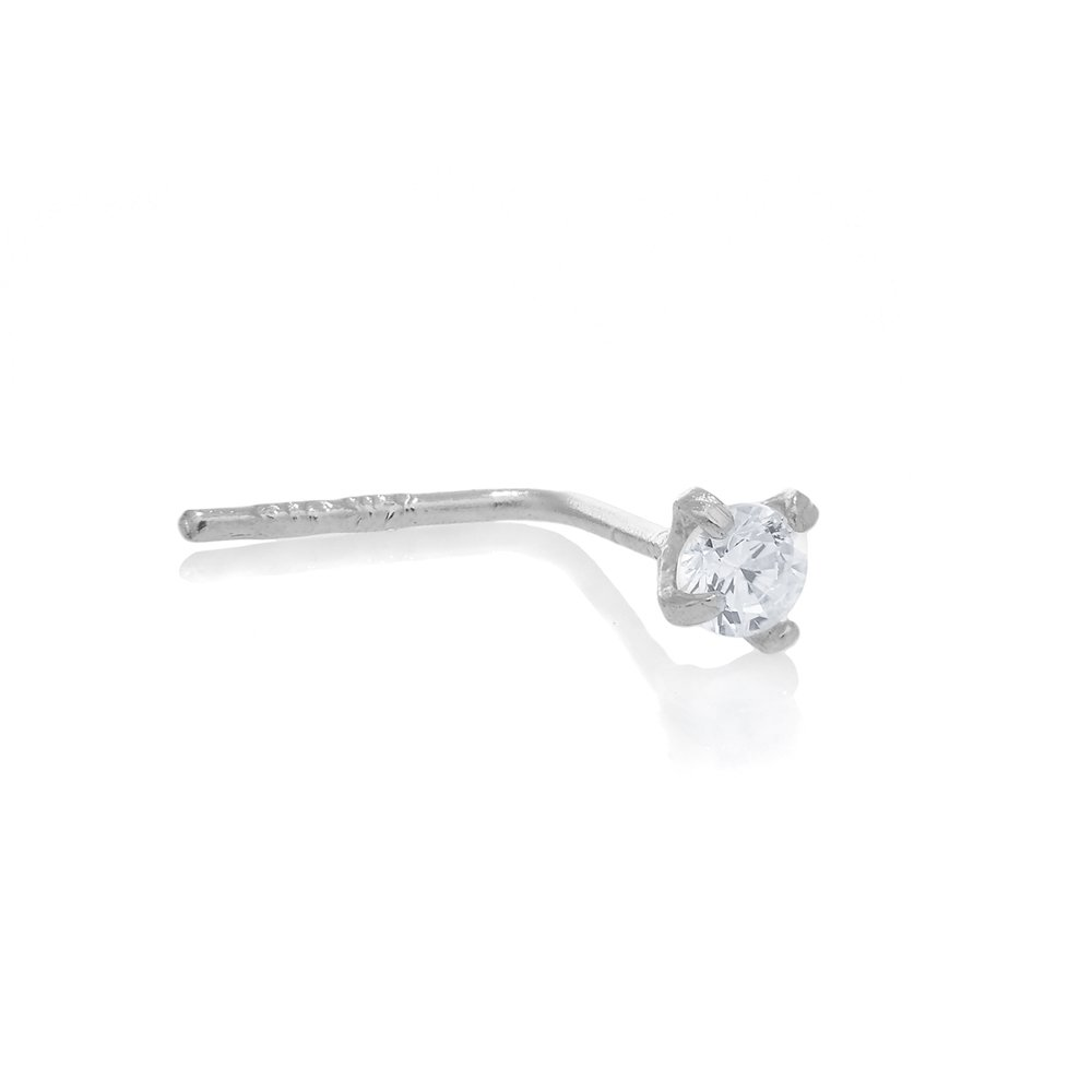 JewelStop 14K White Gold L Bend Prong Set CZ Nose Stud Ring - 0.5mm 24 Gauge 8mm Long by JewelStop