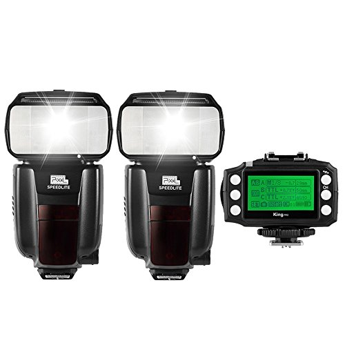 Pixel M8 2PCS GN60 High Performance Wireless Flash Speedlite Kit+Pixel King PRO Transceiver for Canon 5D 6D 7D 5D Mark III 60D 600D 700D 70D 650D 550D DSLR Cameras by Pixel