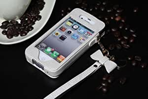 Ezydigital High Quality Flip Leather Case Cover for Apple iPhone 4 4G 4S AT&T