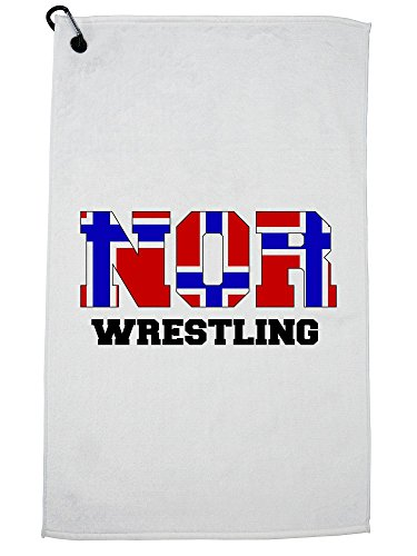 Hollywood Thread Norway Wrestling - Olympic Games - Rio - Flag Golf Towel with Carabiner Clip by Hollywood Thread