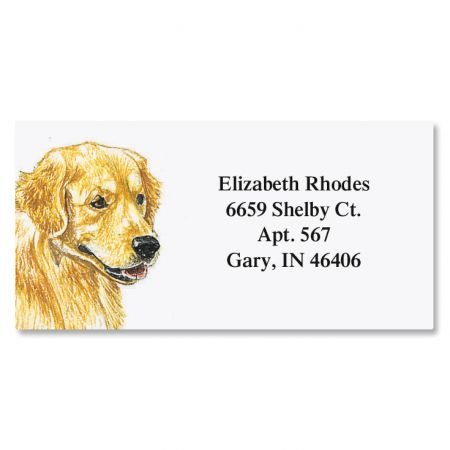 "Golden Retriever Border Personalized Return Address labels- Set of 144 1-1/8"" x 2-1/4"" Self-Adhesive, Flat-Sheet labels, By Colorful Images"