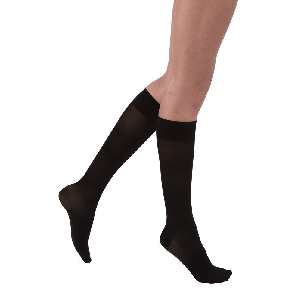 JOBST UltraSheer Knee High 15-20 mmHg Compression Stockings, Closed Toe, Large Full Calf, Classic Black